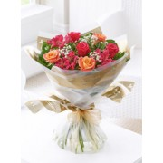 Summer Sunset Rose & Alstromeria Hand-tied