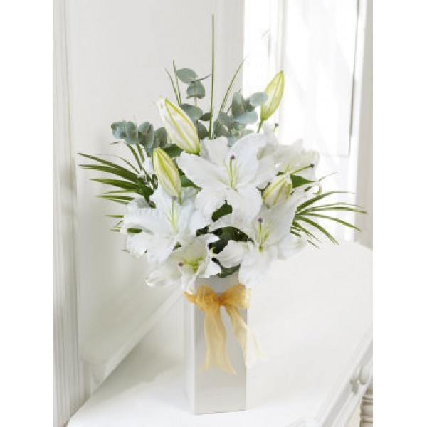 White Scented Lily Vase